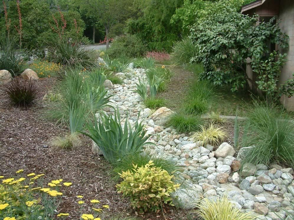 landscape drainage, river rock, creek