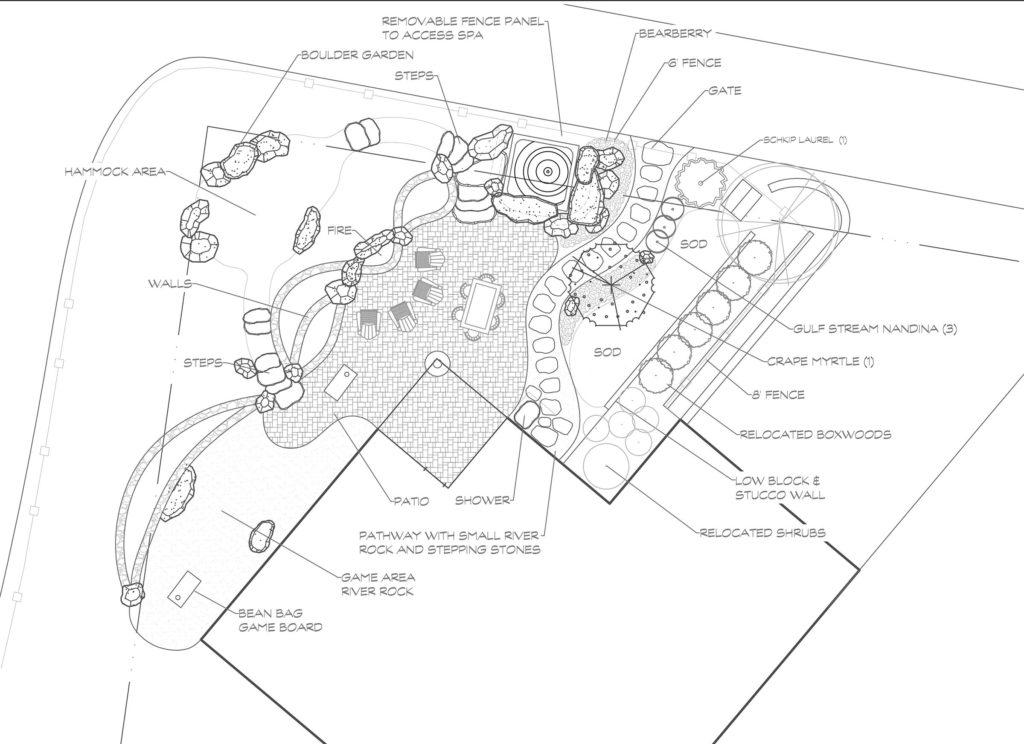 Saluda, Landscape design, CAD drawing, Landscape plan
