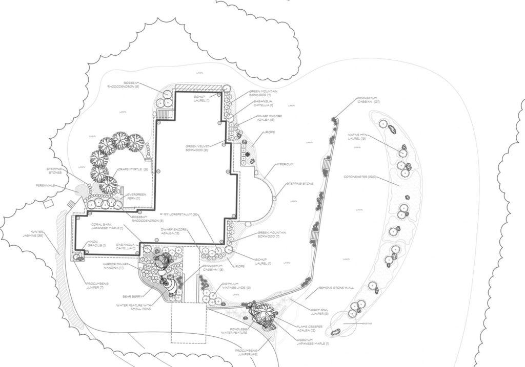 Hendersonville, Landscape design, CAD drawing, Landscape plan