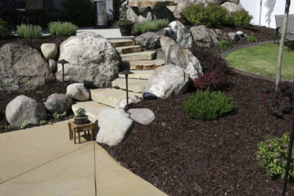 landscape boulders, steps, mulch,