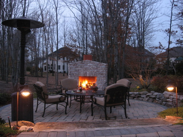 Outdoor fireplace, paver patio