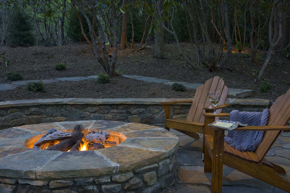 Outdoor fire pit, patio, flagstone, landscaping, asheville