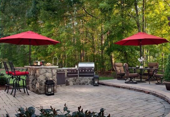 outdoor kitchen, landscape, patio