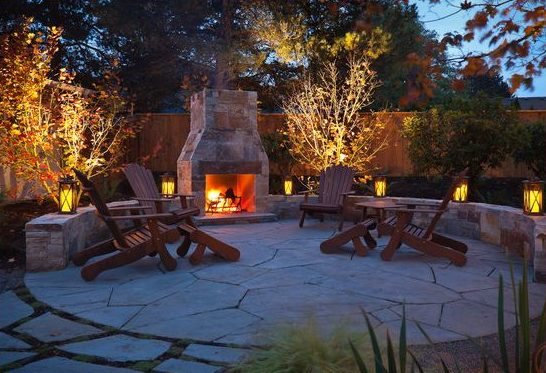 Outdoor fireplace, flagstone patio, backyard, landscape