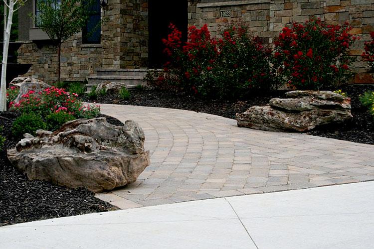 Paver walkway, boulders, landscape