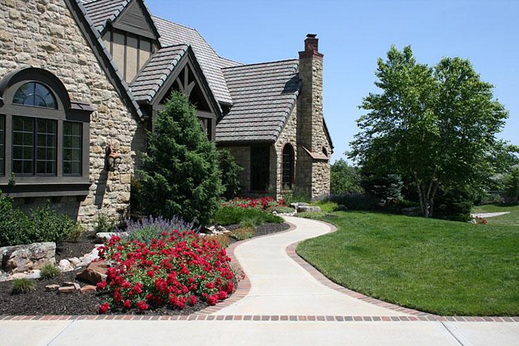 Walkway, paver, shrubs, sod, landscape