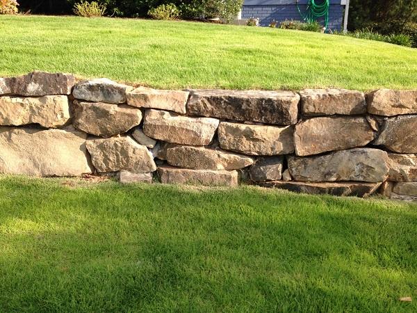 boulder wall, sod, landscaping