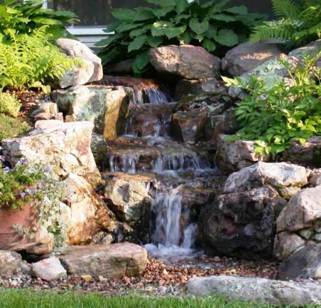 waterfall, backyard, asheville