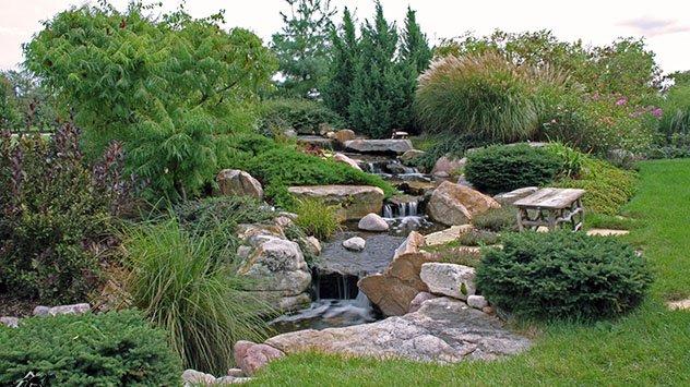 Landscape, waterfall, water feature